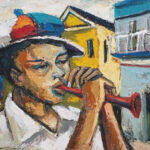 S5045 Young Trumpet player Oil on canvas Itai Vangani 60cm x 40cm