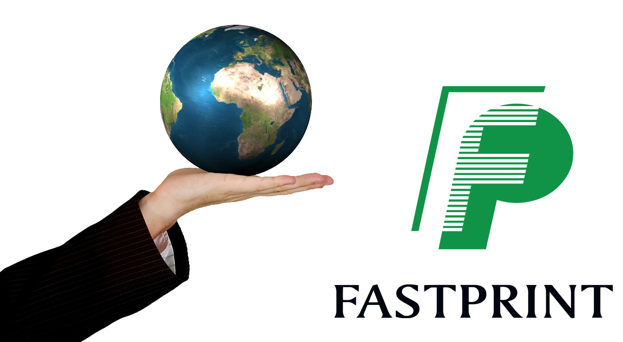 Image of a globe and Fastprint Logo