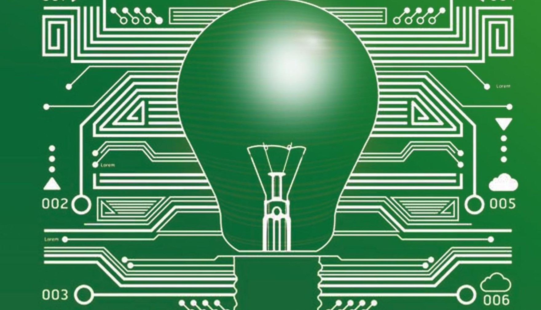 Image of a light bulb on a PCB