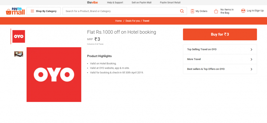 Flat Rs.1000 off on OYO Hotel booking