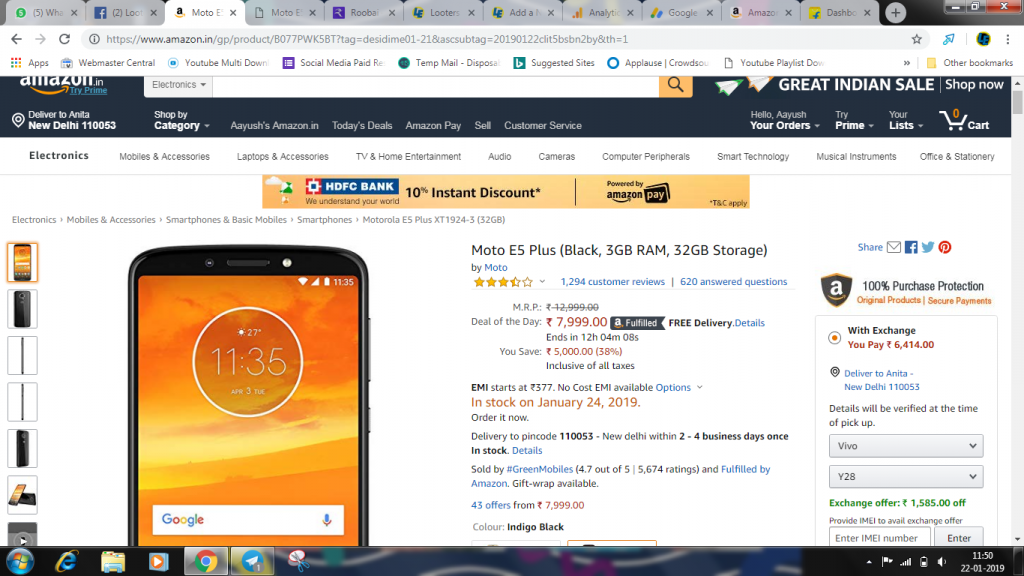 Moto E5 Plus at Rs.7999 only