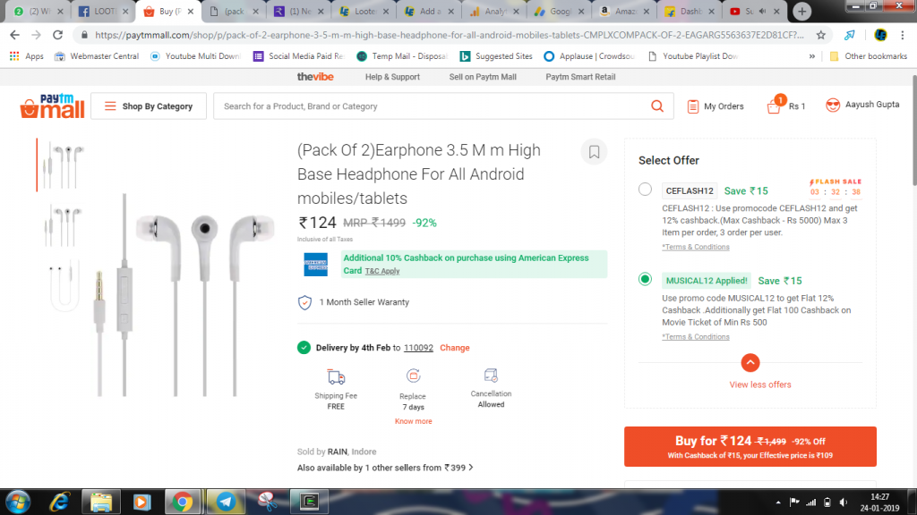 Pack of 2 earphones at Rs.109 only