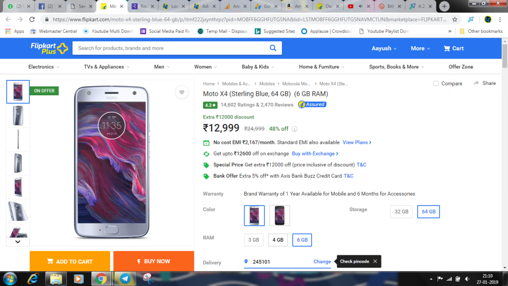 Moto X4 (Sterling Blue, 64 GB) (6 GB RAM) at Rs.12999