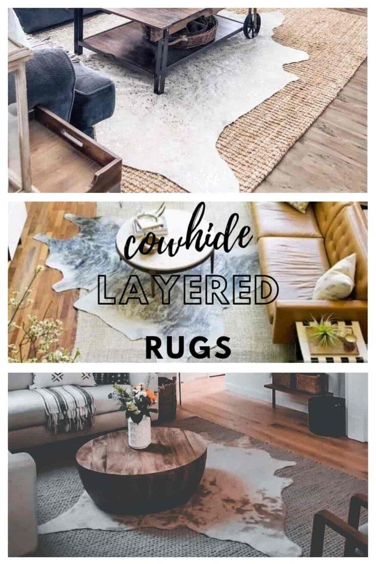 layered cowhide rugs