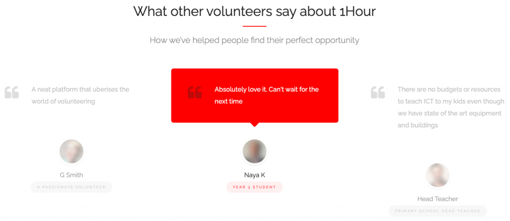 What other volunteers say about 1hour.