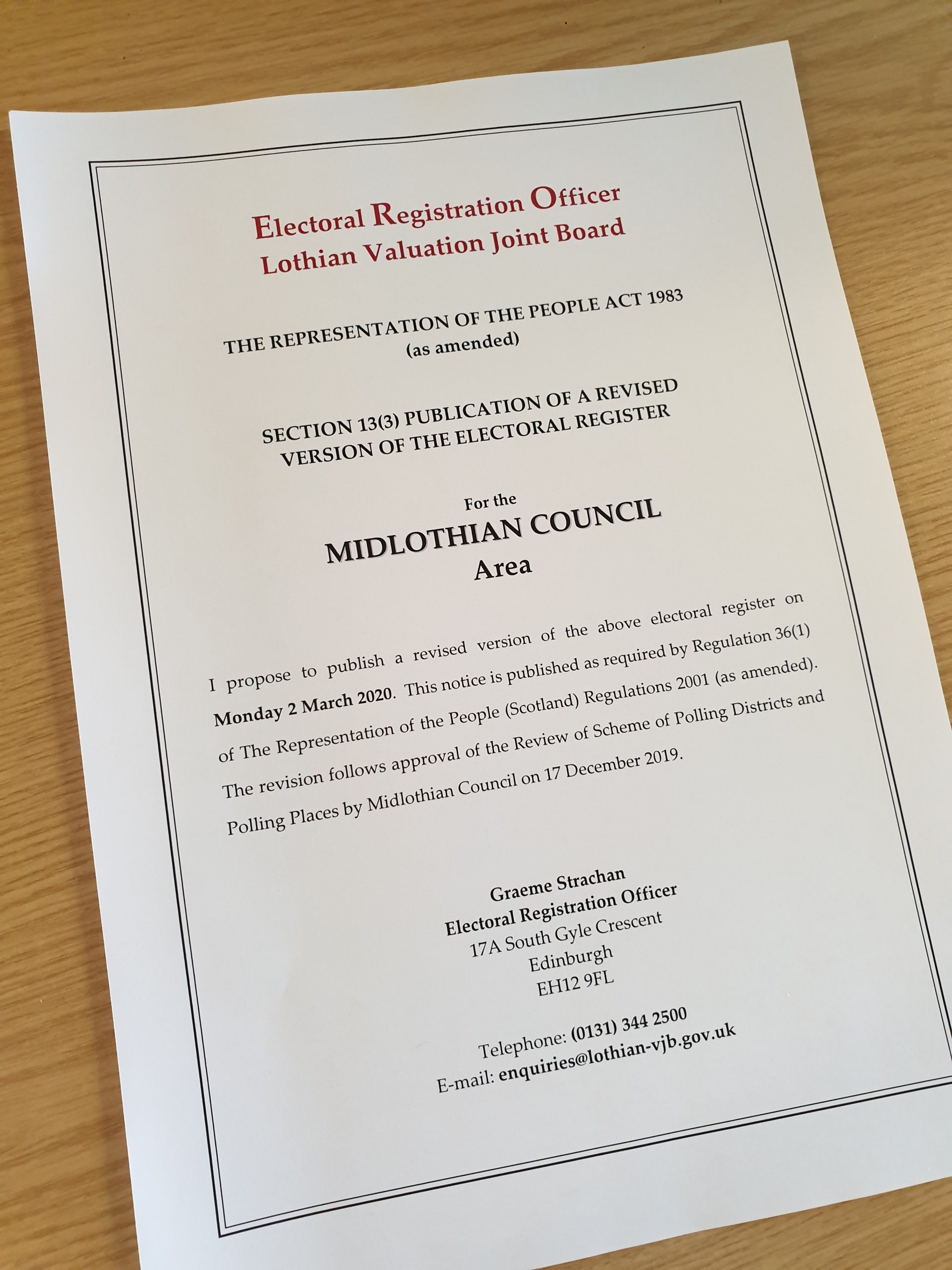 Publication of a Revised Version of the Electoral Register for the Midlothian Council Area