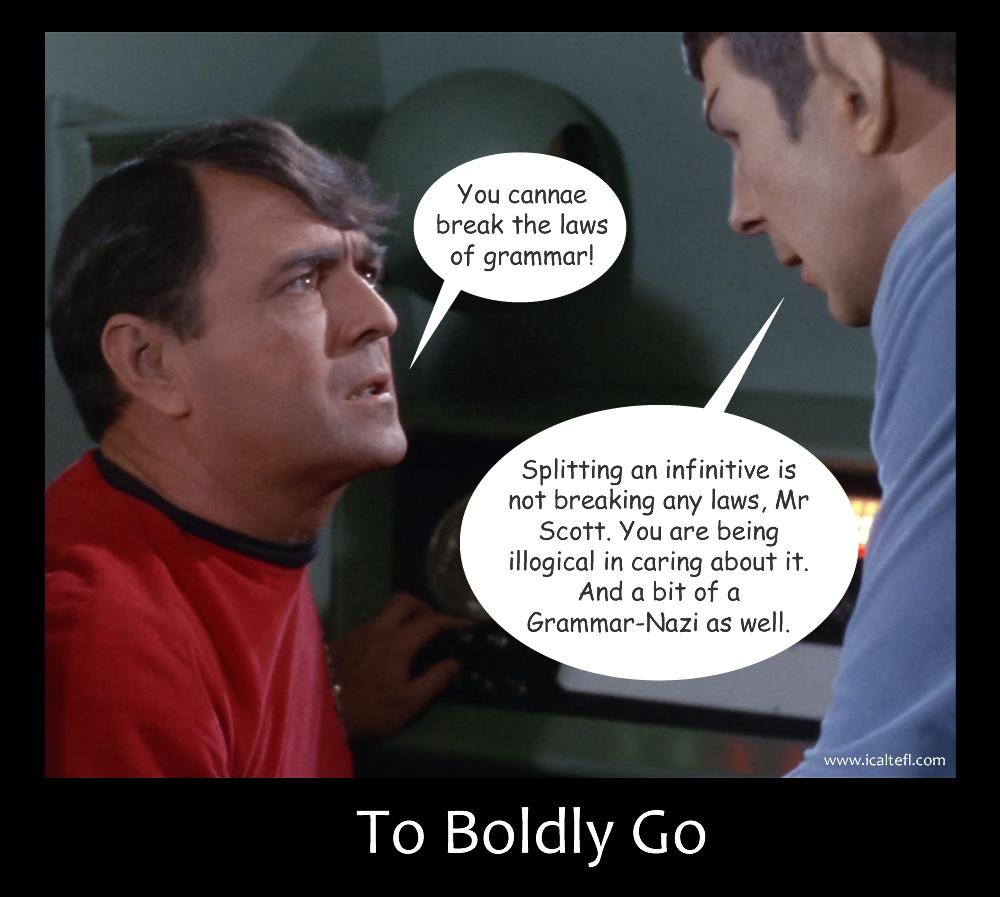 Scott & Spock arguing over Grammar