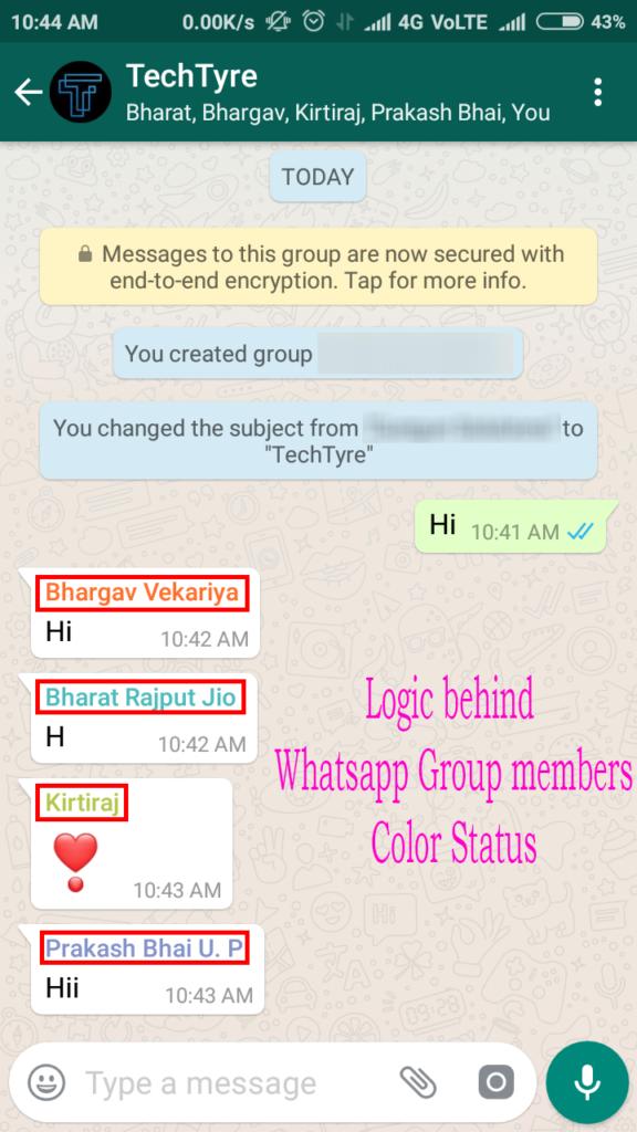 Logic behind Whatsapp Group members color Status