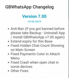 GbWhatsApp Changelog version 7.00