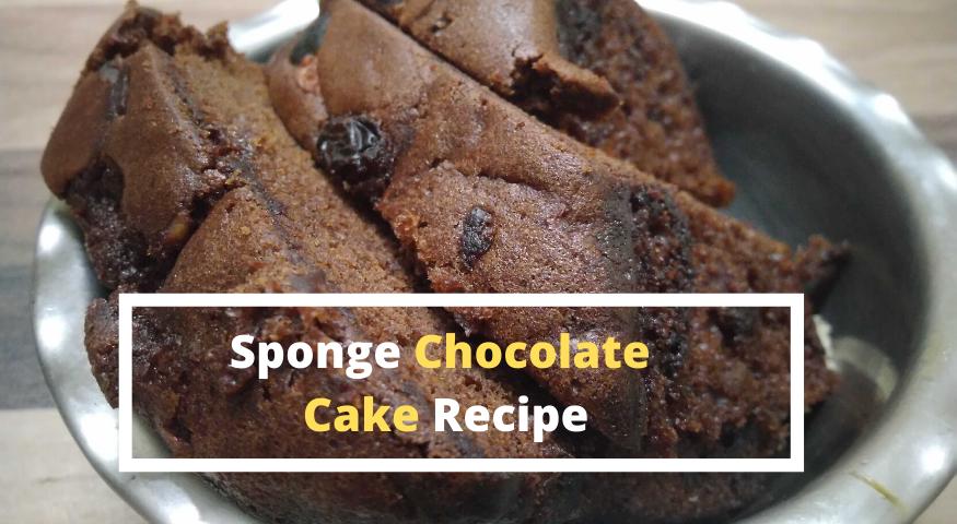 Chocolate Sponge Cake Recipe   Eggless Chocolate Cake Recipe