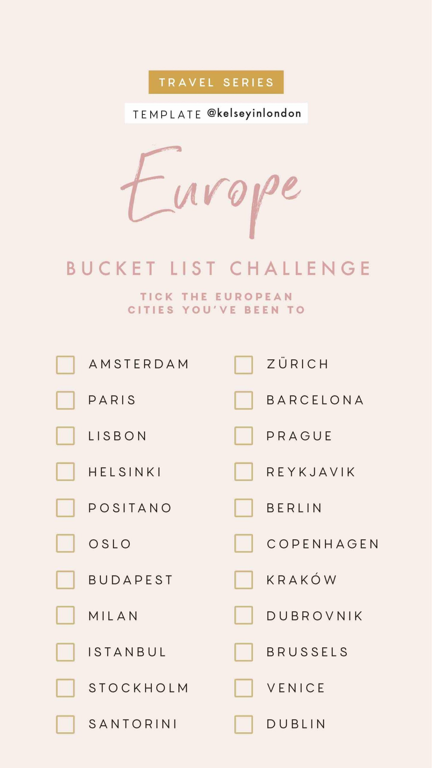 1 Top things to do in Europe- Europe Bucket list - Instagram Story Template - kelseyinlondon- Kelsey Heinrichs - What to do in Europe- Where to go in Europe- top places in Europe