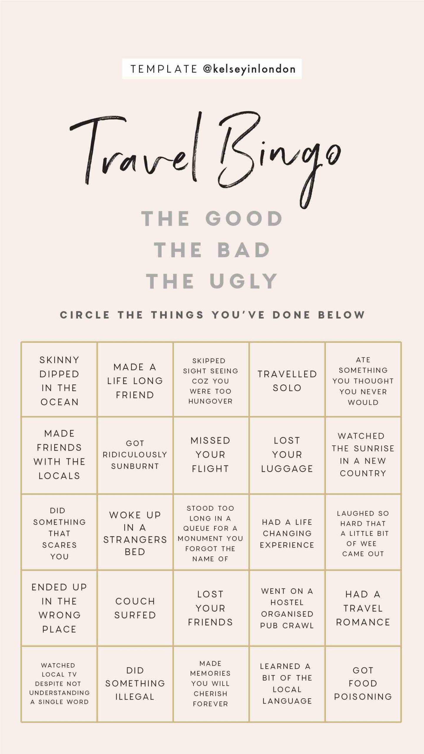 Instagram Story Templates - @kelseyinlondon Kelsey Heinrichs Travel bucket lists travel this or that travel quiz travel bingo