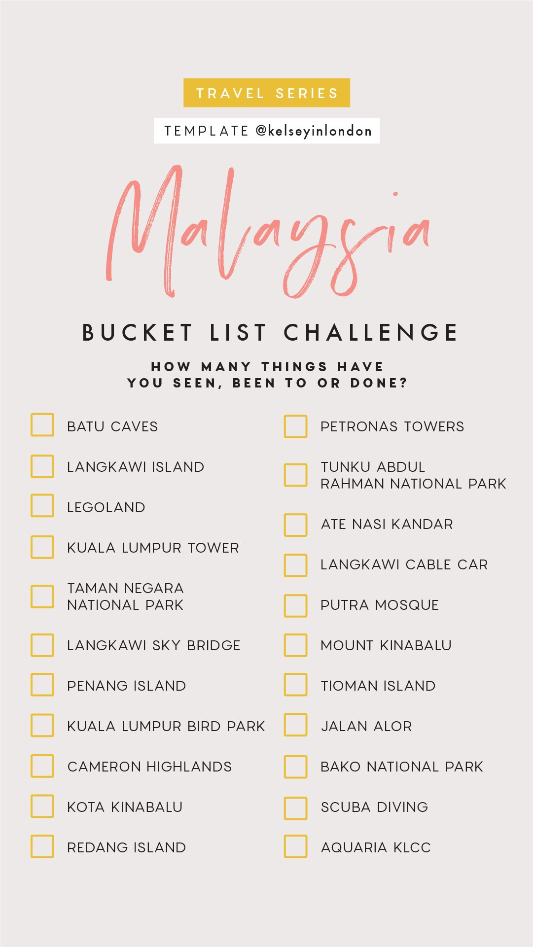 Top things to do in Malaysia- Malaysia Bucket list - Instagram Story Template - kelseyinlondon- Kelsey Heinrichs - What to do in Malaysia- Where to go in Malaysia- top places in Malaysia