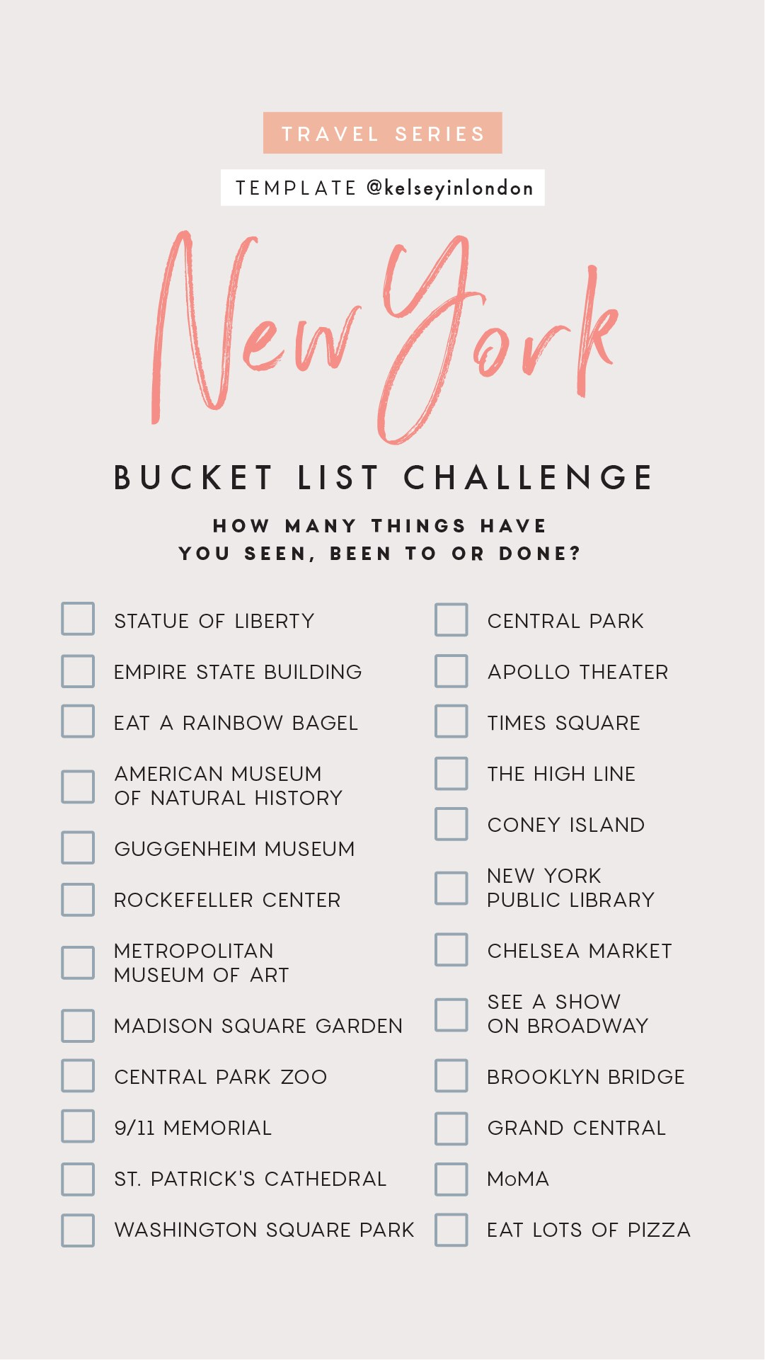 Top things to do in New York Bucket list Instagram Story Template kelseyinlondon Kelsey Heinrichs What to do in New York Where to go in New York top places in New York