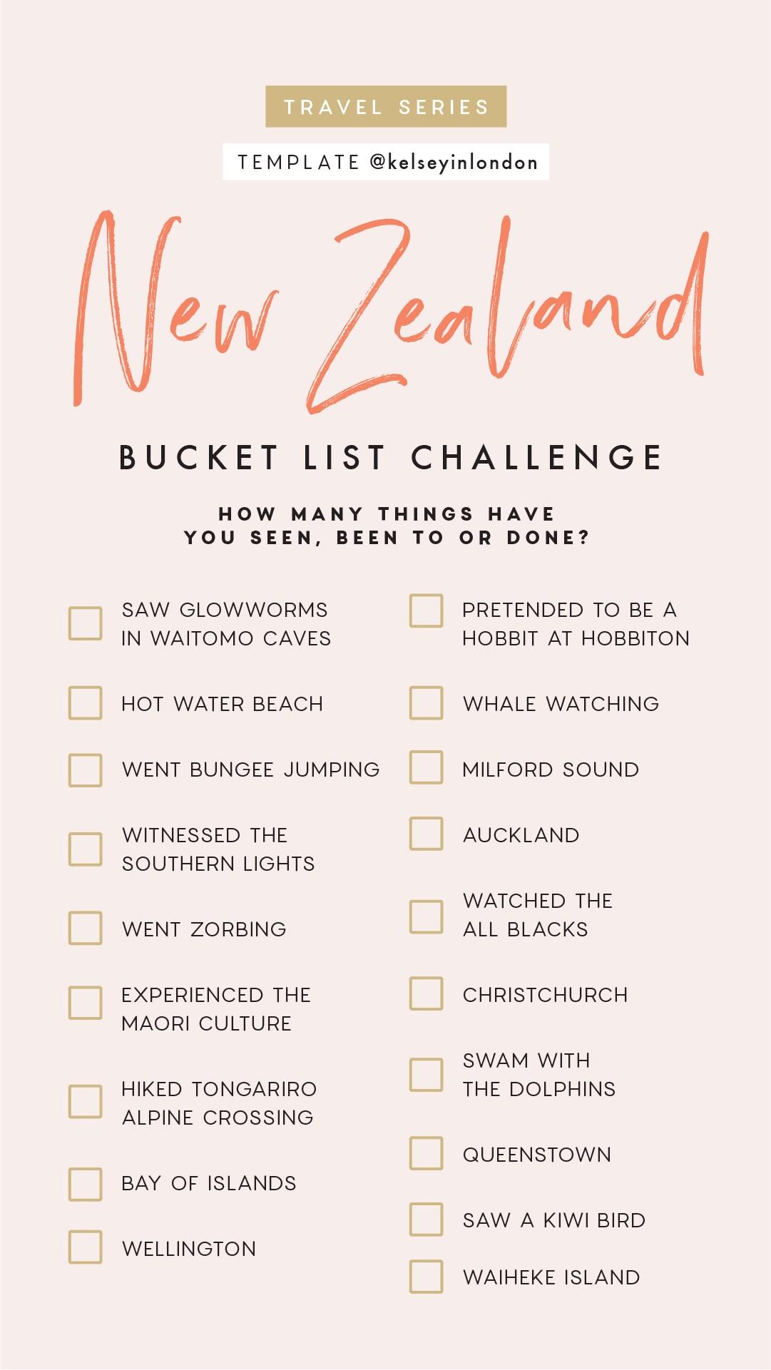 Top things to do in New Zealand Bucket list Instagram Story Template kelseyinlondon Kelsey Heinrichs What to do in New Zealand Where to go in New Zealand top places in New Zealand