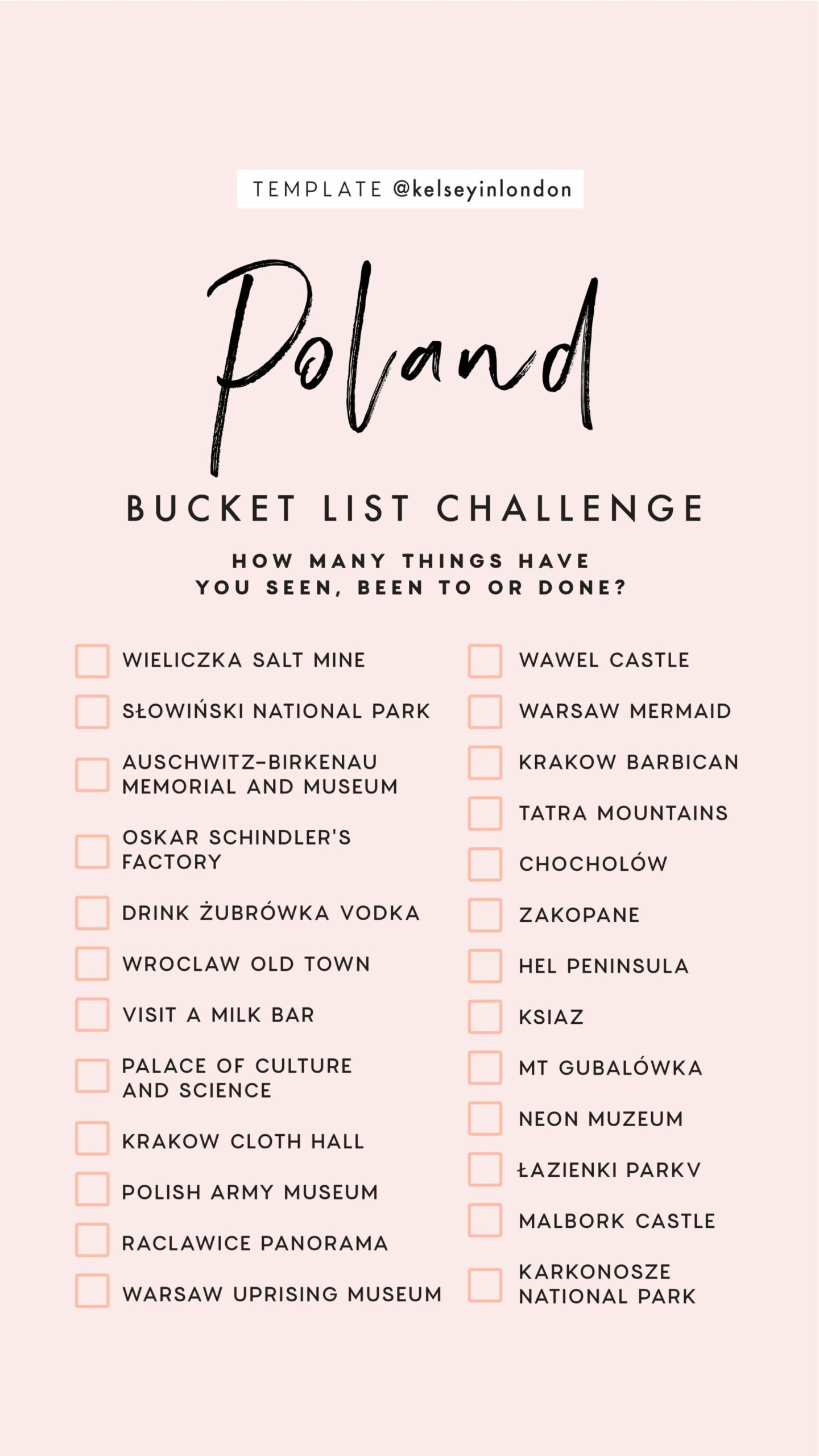Top things to do in Poland Bucket list Instagram Story Template kelseyinlondon Kelsey Heinrichs What to do in Poland Where to go in Poland top places in Poland