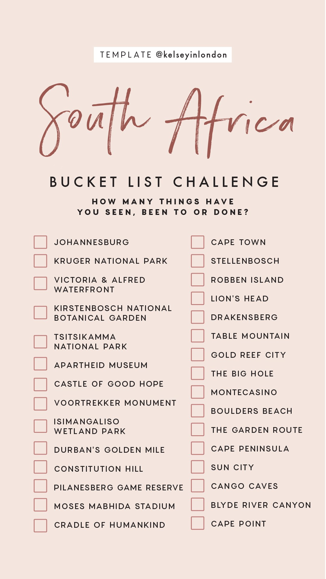 Top things to do in South Africa Bucket list Instagram Story Template kelseyinlondon Kelsey Heinrichs What to do in South Africa Where to go in South Africa top places in South Africa