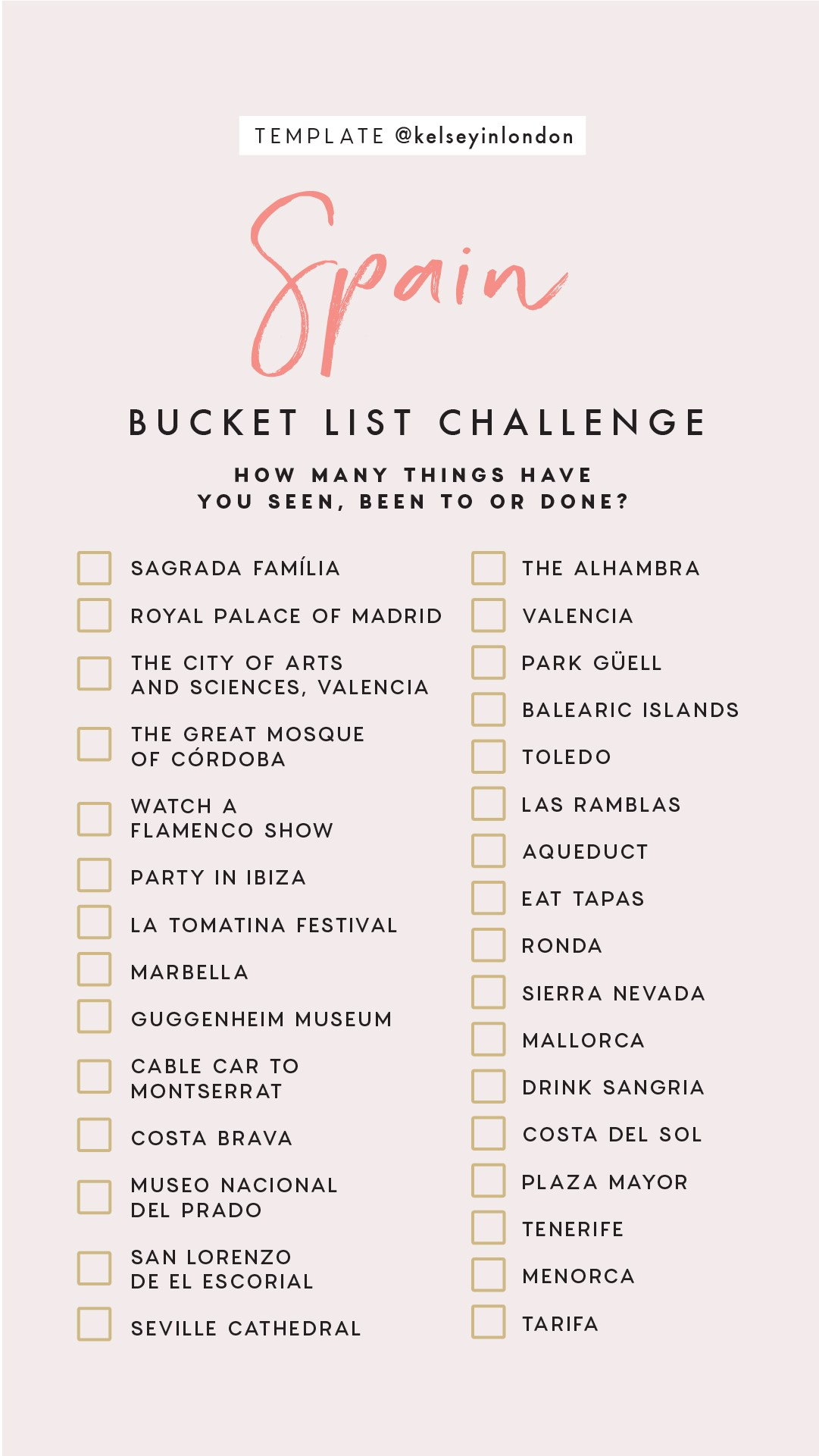 Top things to do in Spain Bucket list Instagram Story Template kelseyinlondon Kelsey Heinrichs What to do in Spain Where to go in Spain top places in Spain