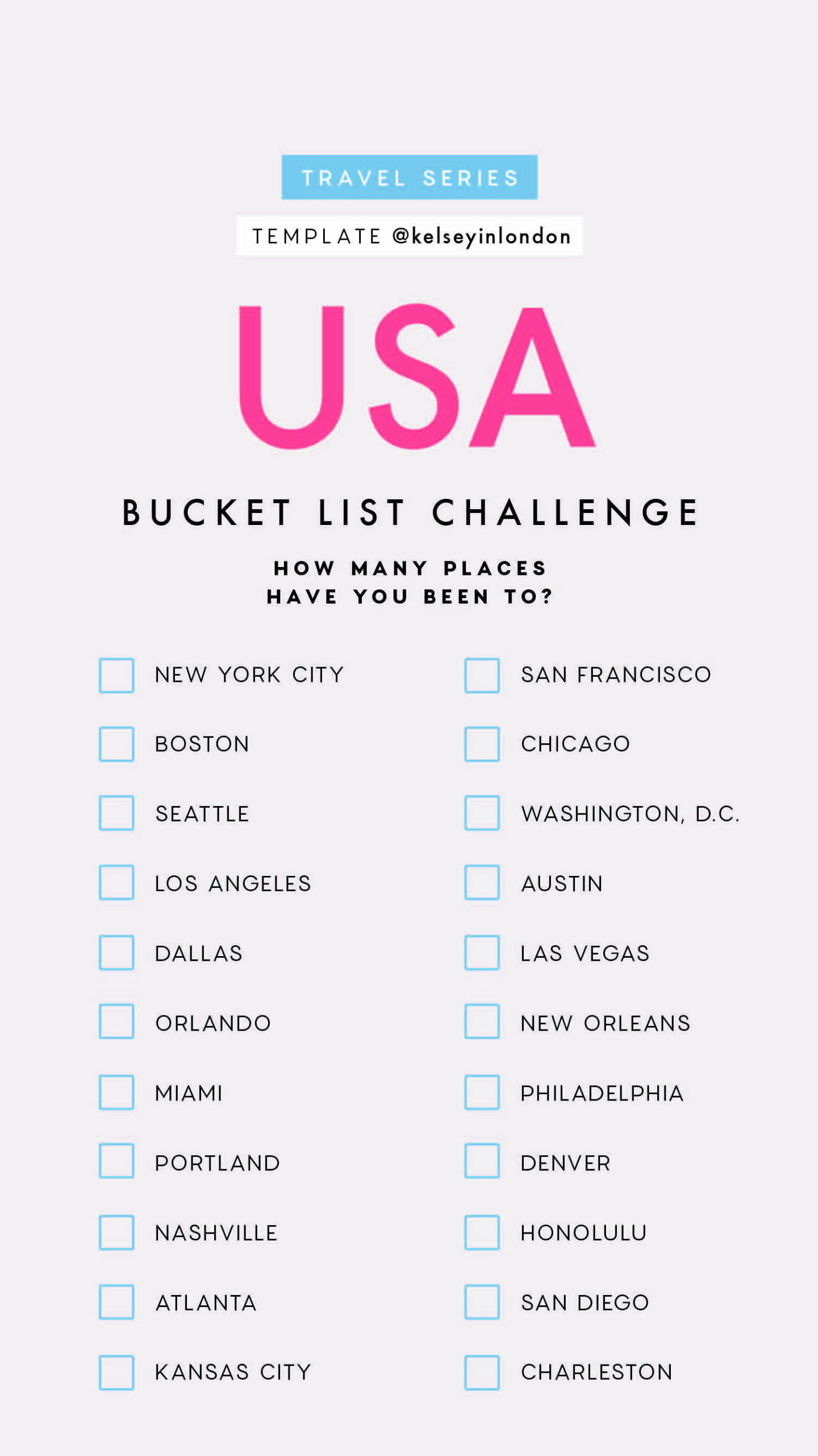 Top things to do in United States Bucket list Instagram Story Template kelseyinlondon Kelsey Heinrichs What to do in United States Where to go in United States top places in United States