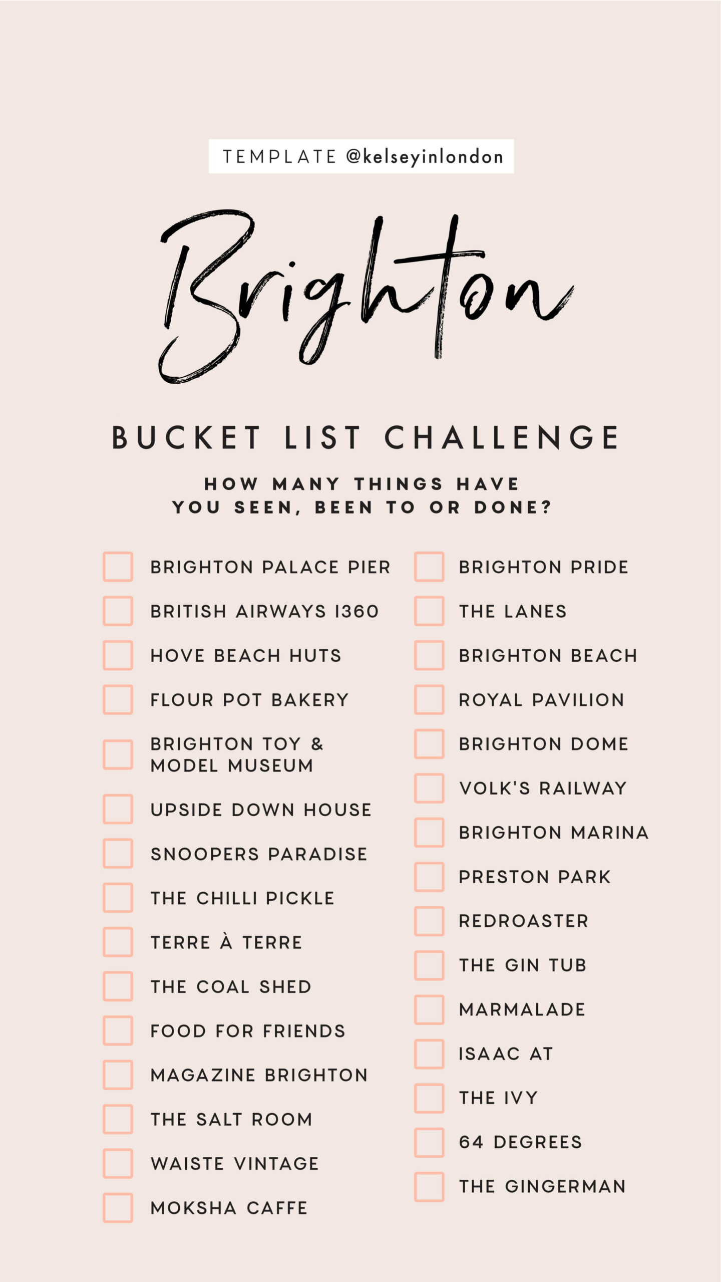 Top things to do in brighton Bucket list Instagram Story Template kelseyinlondon Kelsey Heinrichs brighton places travel guide