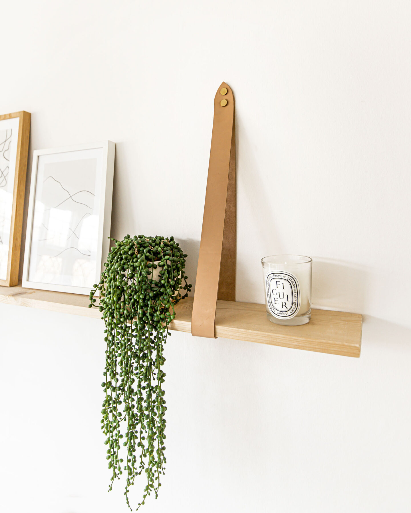 DIY Shelf Tutorial Floating Wooden Shelf with Leather Straps - Kelseyinlondon - homewithkelsey - Kelsey Heinrichs