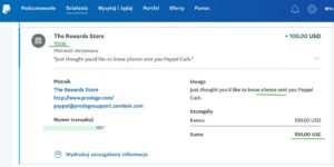 ySense — dowód wypłaty 2021, PayPal.
