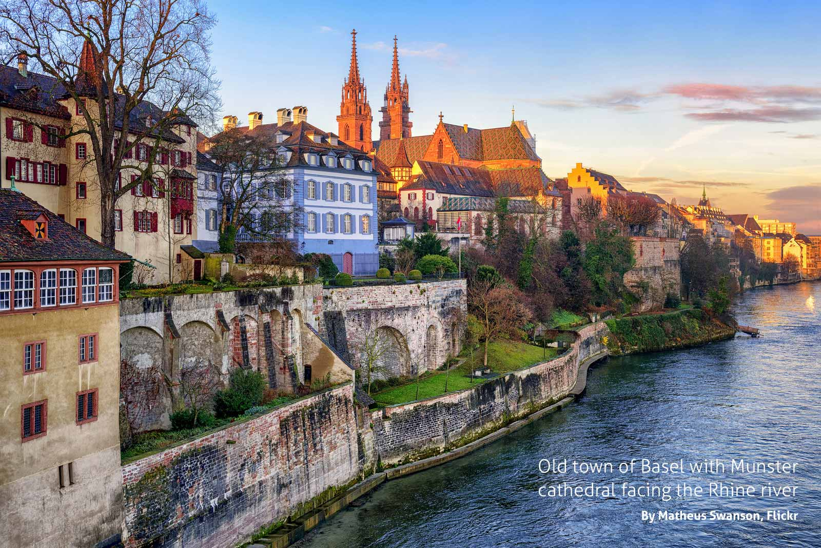 Old town of Basel with Munster cathedral facing the Rhine river, by Matheus Swanson, Flickr