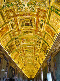 The ceiling of the Vatican Museums