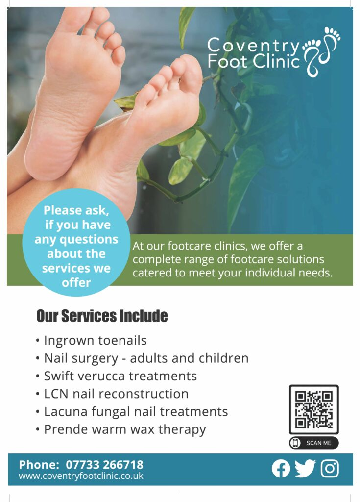 Coventry Foot Clinic as designed by Emma Scott Web Design Warwickshire