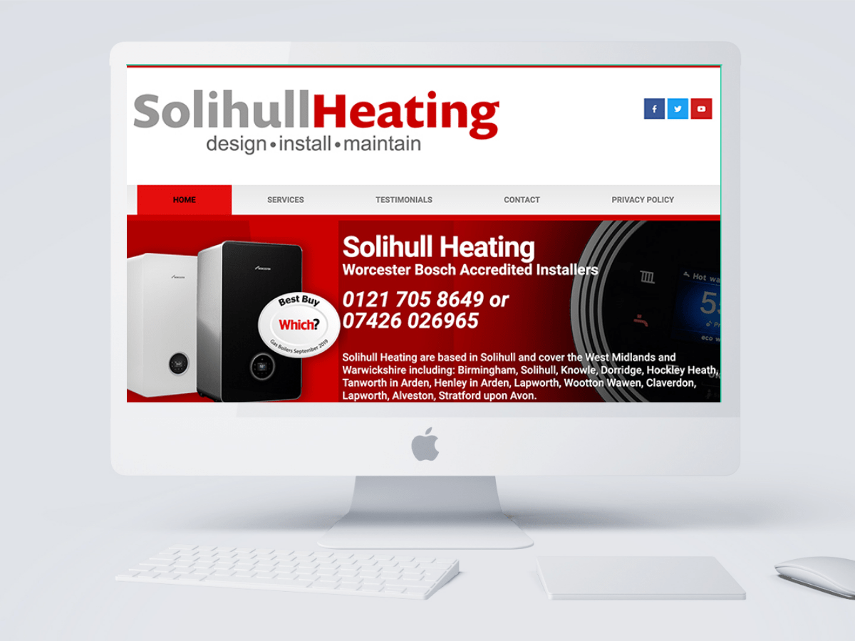Solihull Heating Website designed by Emma Scott Web Design