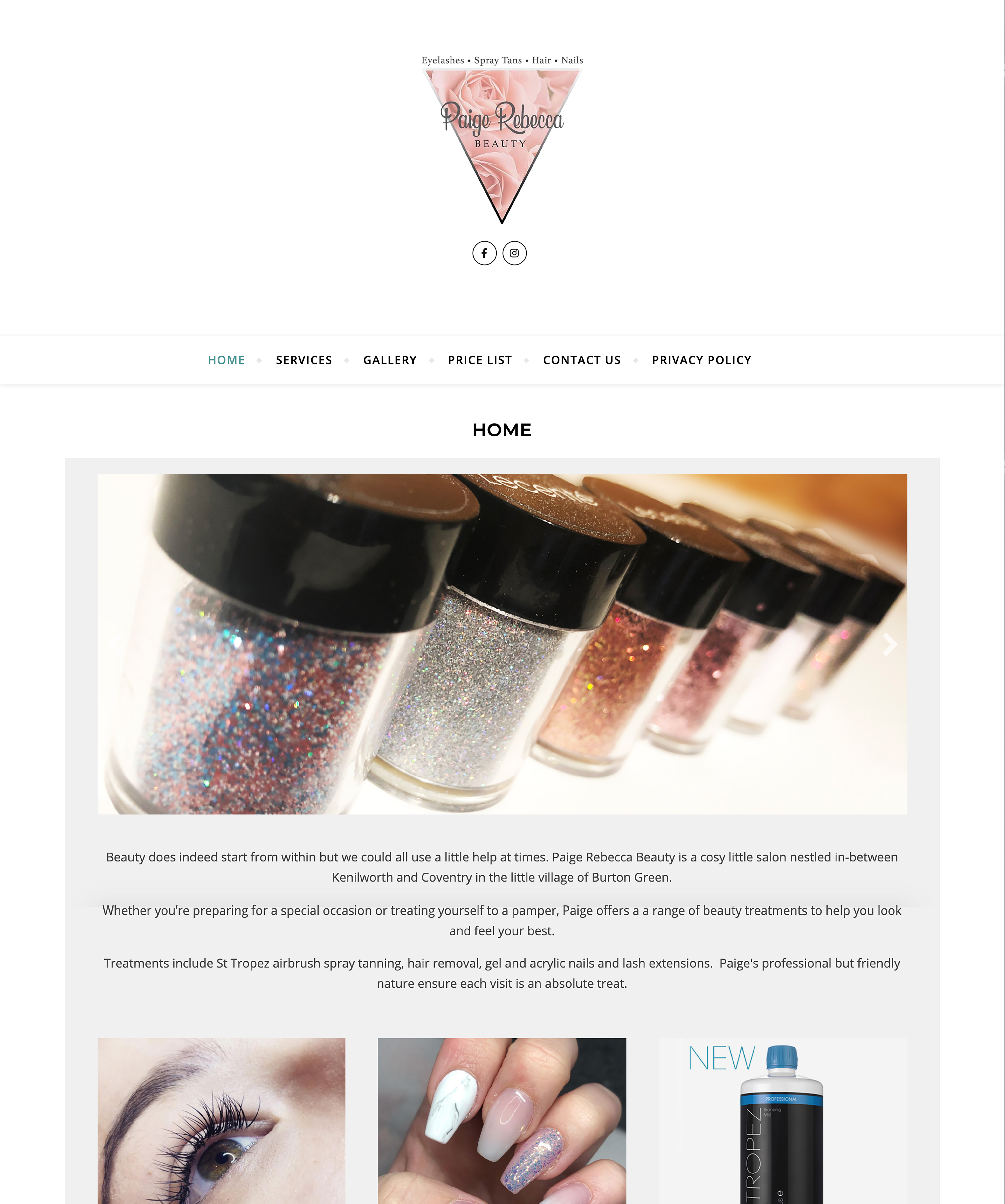 Paige Rebecca Beauty Website by Emma Scott Web Design Warwickshire