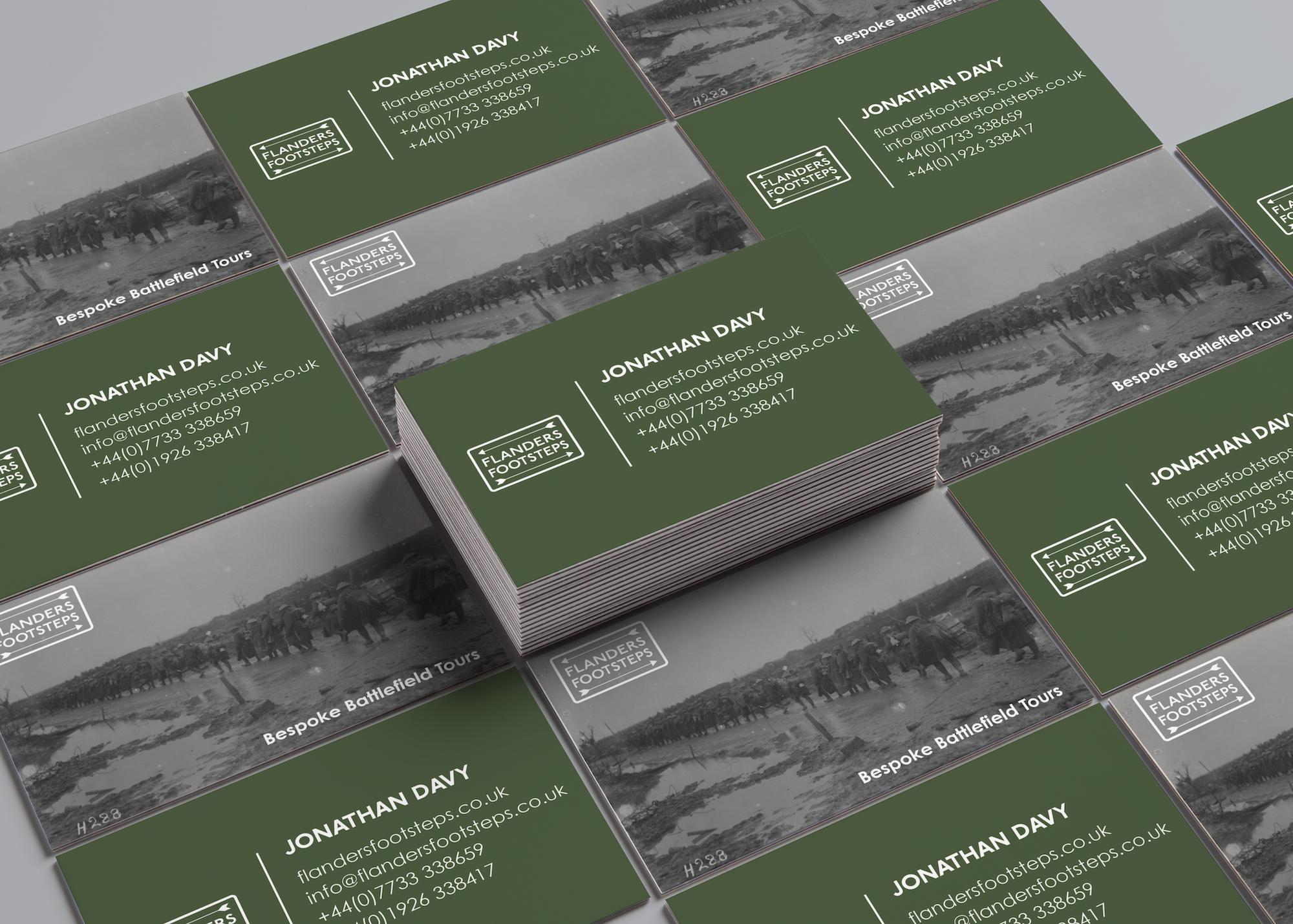 Flanders Footsteps Business Cards designed by Emma Scott Web Design