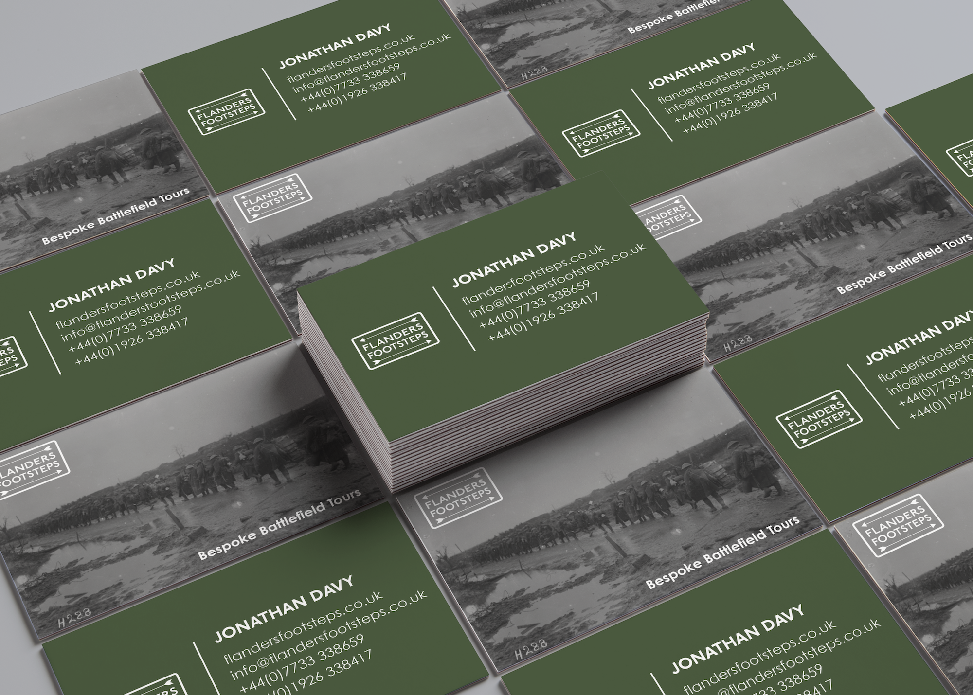Flanders Footsteps Business Cards designed by Emma Scott Web Design