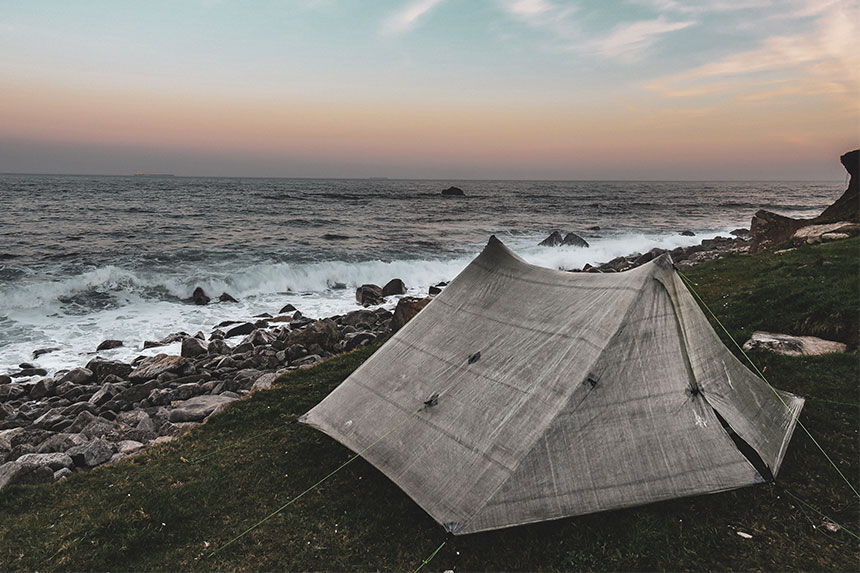 Wild camping in Zpacks tent on coast in Cornwall