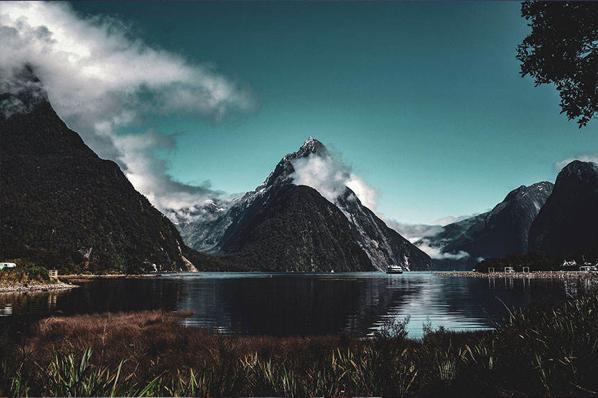 View of fiord, Milford Sound, South Island, New Zealand