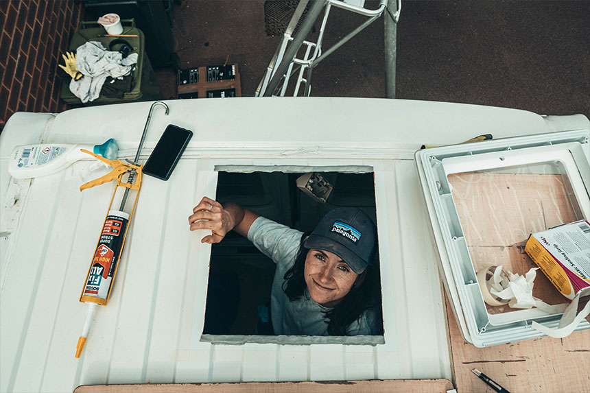 Looking through the newly cut hole in the roof of our van conversion ready to attach the Thule Omnivent roof vent