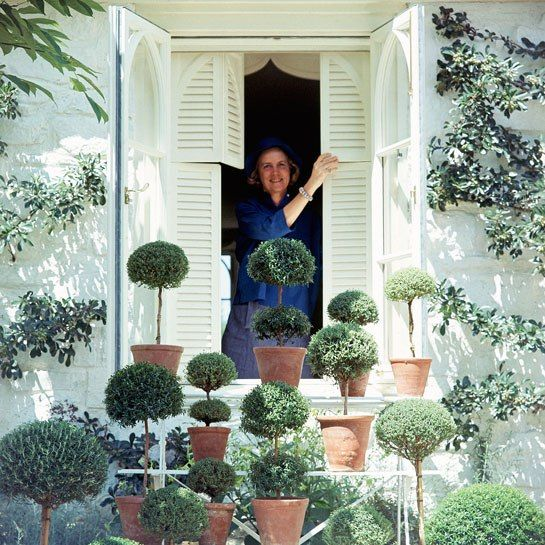 """Rachel """"Bunny"""" Mellon with a gathering of her topiaries, photographed at a window of her Virginia home (Vogue, 1965). Photo: Horst P. Horst/Condé Nast Archive"""