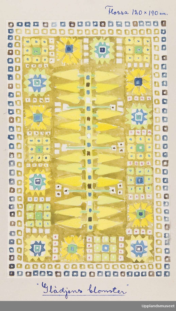 """ngrid Skerfe-Nilsson, sketch, pattern for pile rug, """"Glädjens blomster,"""" (""""Joyful flowers""""), in yellows and blues, size noted as 120 x 190 cm, in a Upplandsmuseet collection of 34 of her sketches, digitaltmuseum.se, numbered UM41241. Noted as being from either 1942, 1947 or 1949-51."""