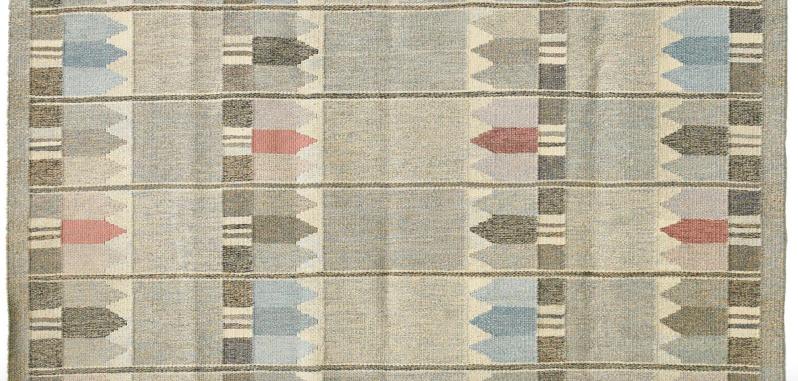 Detail of a flat weave rug (rölakan) by Kerstin Butler, 1966