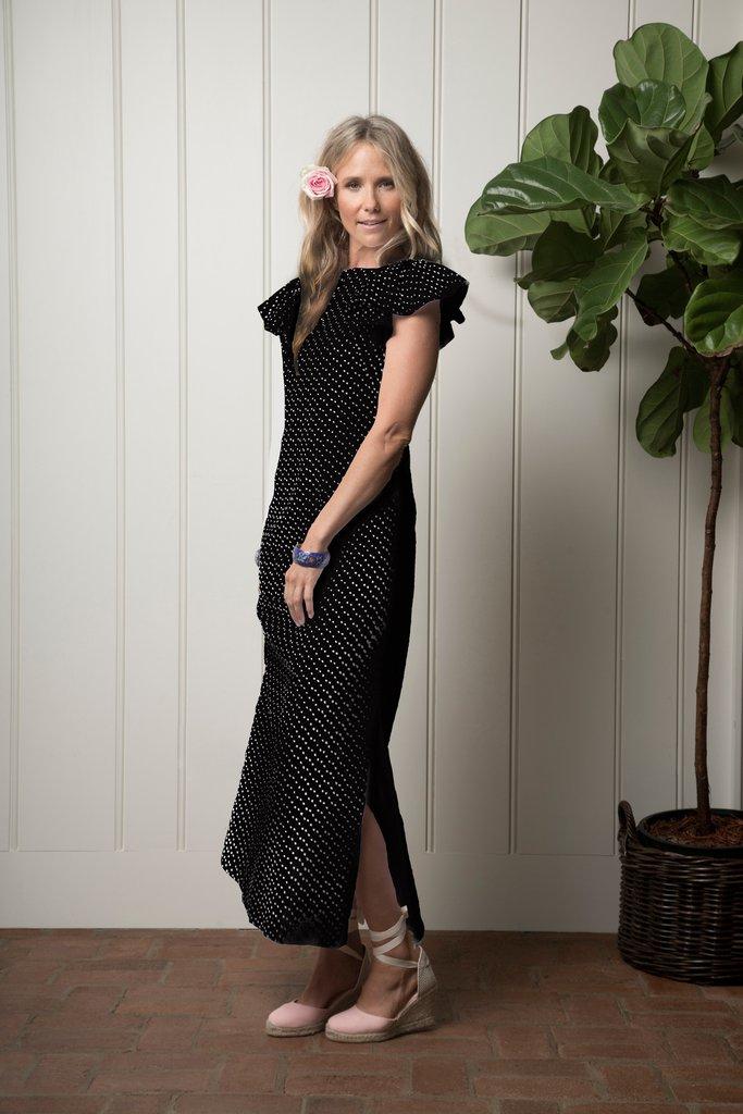 Capitola Cabana dress -Midnight flamenco dot by Olivia Joffrey