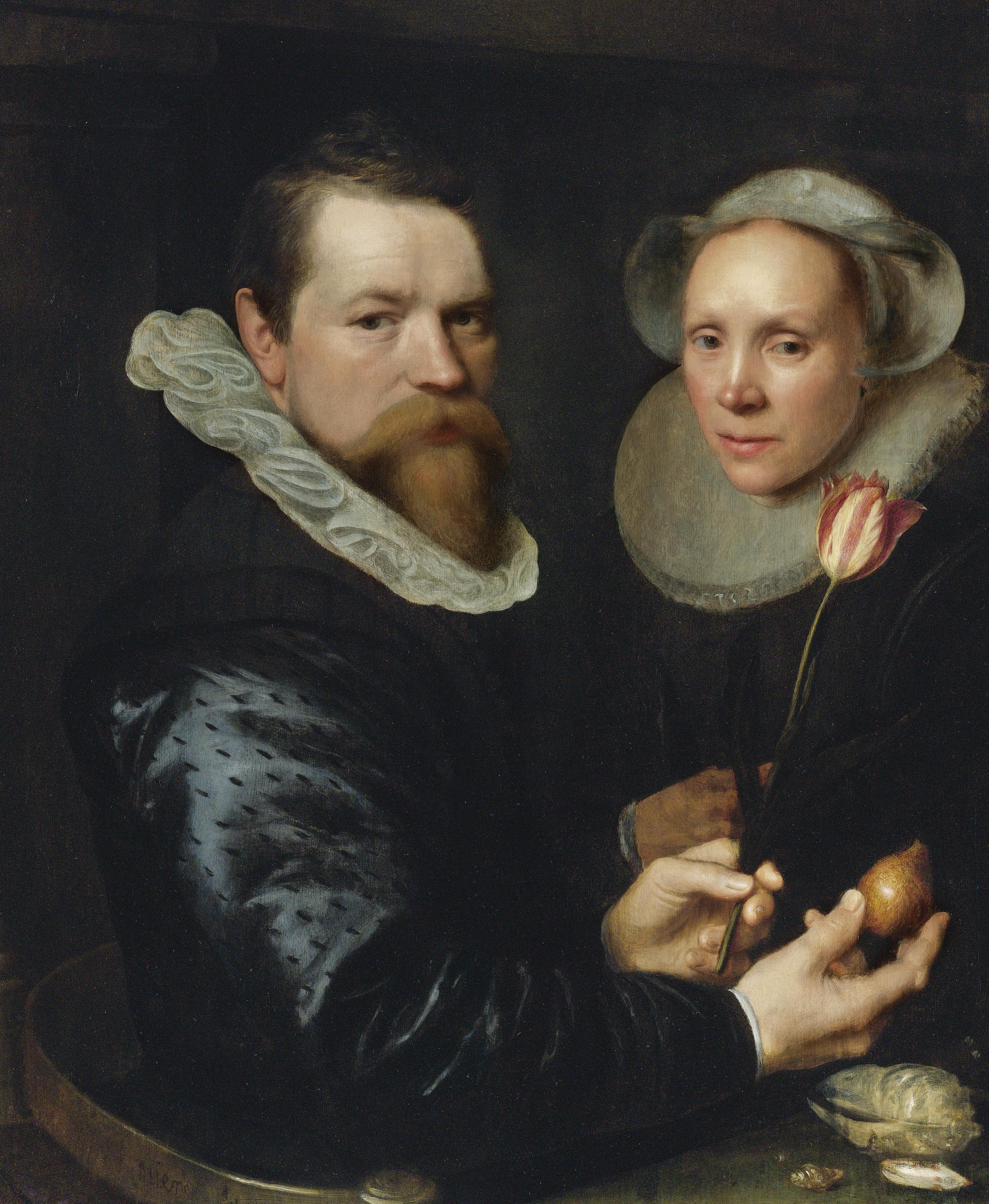 Double Portrait of a Husband and Wife with Tulip, Bulb, and Shellsoil on panel painting by Michiel Jansz van Mierevelt, 1609 Sotheby's