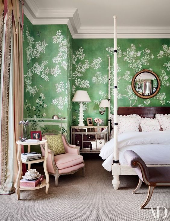 A Palm Beach bedroom by Mario Buatta. Architectural Digest.