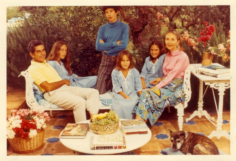 Sylvia with her parents, brother and sisters and their dog Jackie in Sotogrande photographed by Slim Aarons