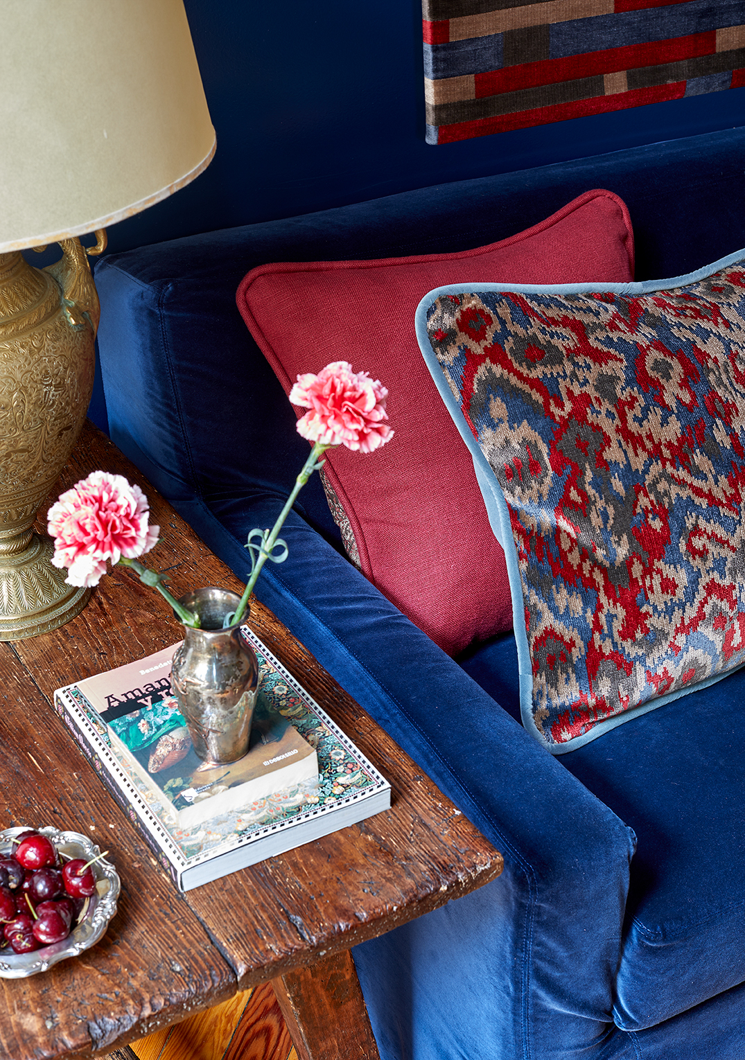 Melian-Raldolph's collection for Güell-LaMadrid is called Bloomsbury and includes linens, linen sheers, velvets, jacquards, cottons in four colorways that range from blues and greens to terracotta and ochres.