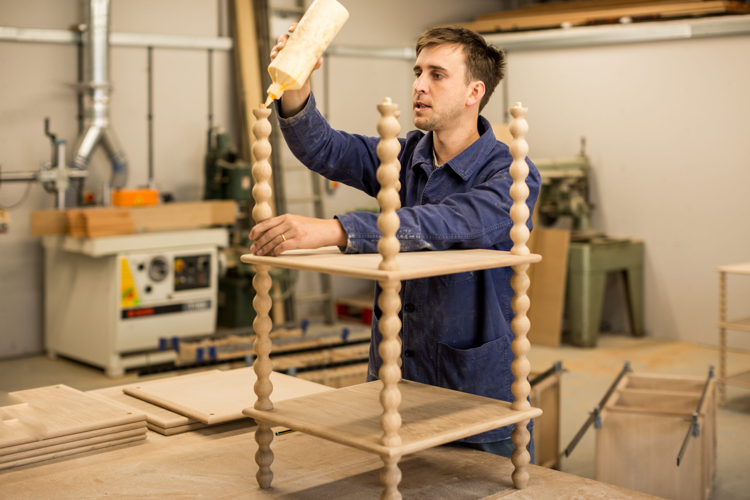 alfred newall workshop with bobbin tables