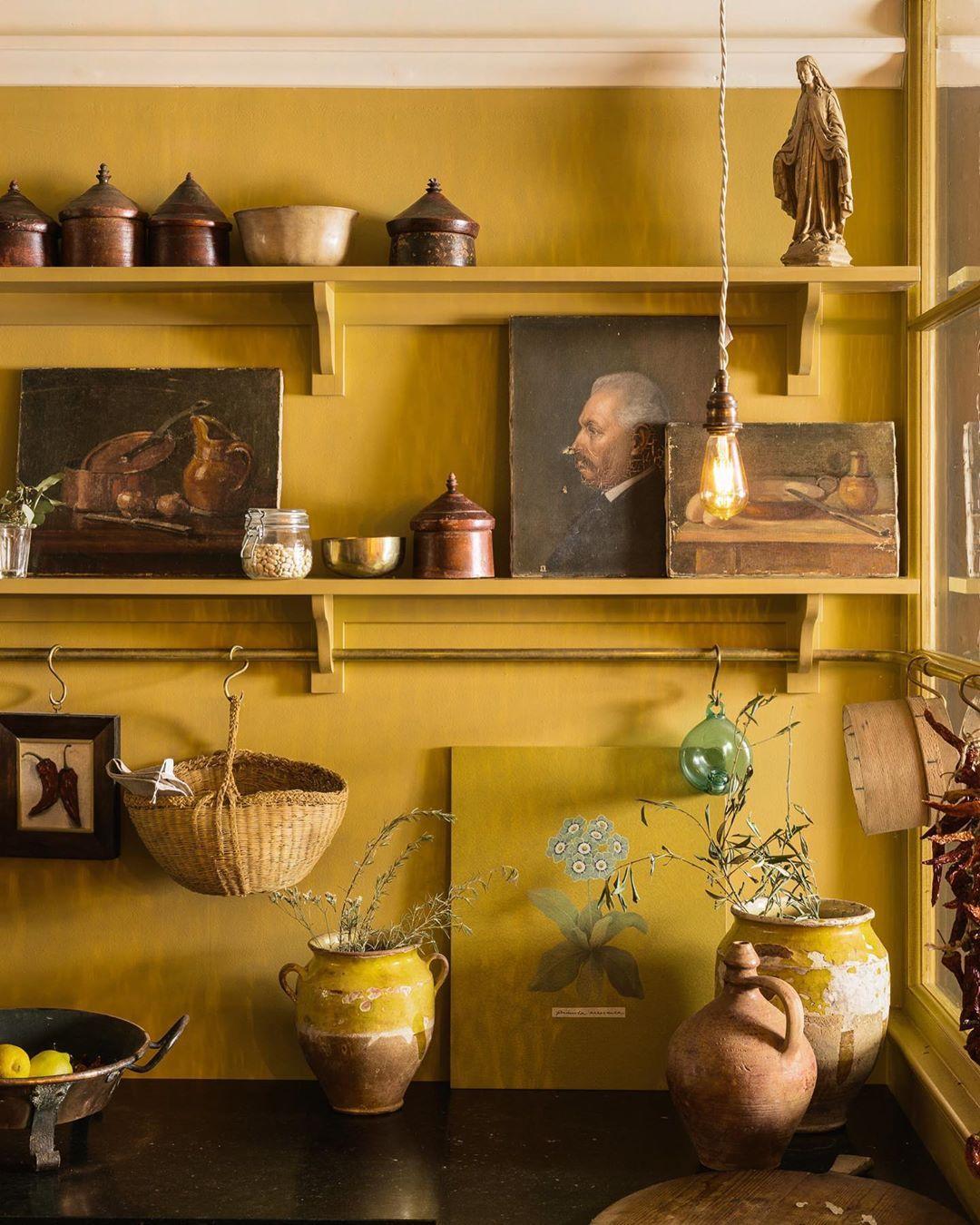 Devol kitchens mustard coloured kitchen