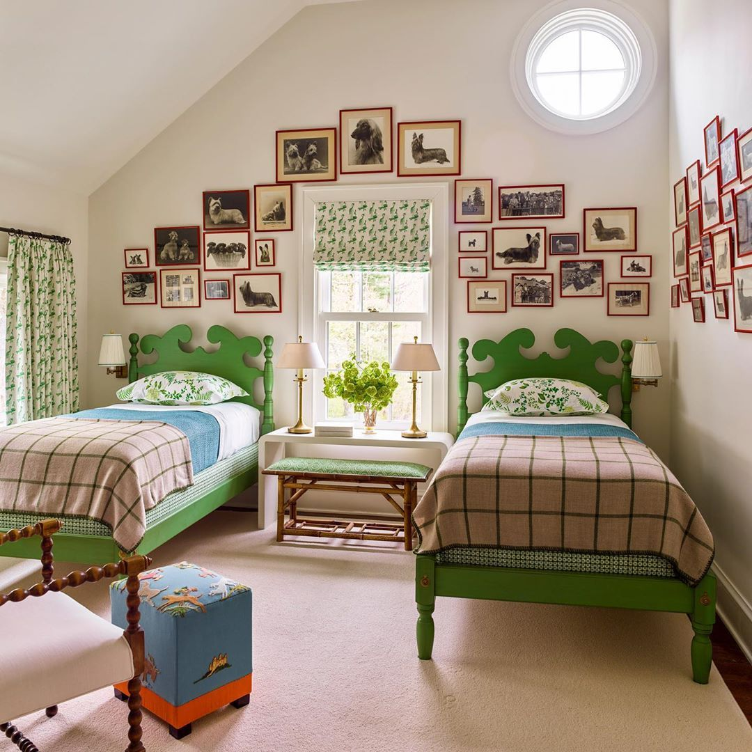 twin bedroom by katie ridder with dog artwork