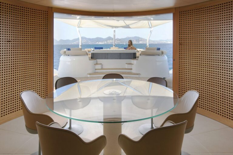 BM interior dinning table main deck | BLUE MAGIC
