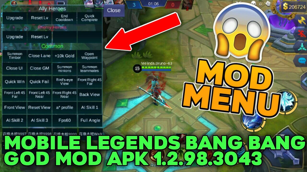 Mobile Legends Bang Bang GOD MOD APK 1.2.98.3043 (MOD MENU)
