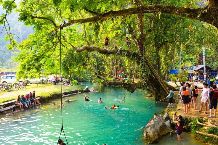 Image result for blue lagoon vang vieng